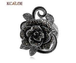 KCALOE Zwarte Bloem Ringen Voor Vrouwen Crystal Zirconia Vintage Sieraden Verzilverd Ringen Accessoires Aneis Feminino Ring
