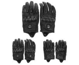 Mannen Motorhandschoenen Sporten Volledige Vinger Motorrijden Beschermende ArmorZwarte Korte Lederen Handschoenen