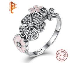 925 Sterling Zilver Shimmering Boeket, Roze Emaille & Clear CZ Kersenbloesem Daisy Bloem Vinger Ringen voor Vrouwen Bruiloft