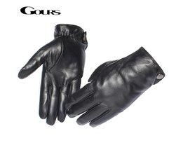 Gours mannen Lederen HandschoenenReal Schapenvacht Zwart Touchscreen Handschoenen Knop Winter Warme WantenGSM051