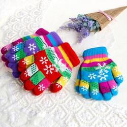 MyXL S/M/L Winter Kinderen Bi-layer Verdikte Warm Sneeuw Print Gekleurde Garen Gebreide Handschoenen