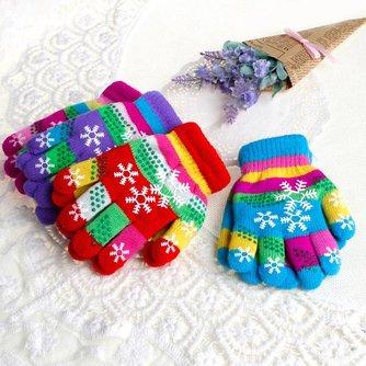 S/M/L Winter Kinderen Bi-layer Verdikte Warm Sneeuw Print Gekleurde Garen Gebreide Handschoenen
