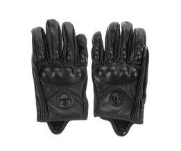 Stijlvolle Lederen Motorhandschoenen Beschermende Armor Korte Handschoenen M/L/XL Volledige Vinger Zonder GatVoor Riding Sport