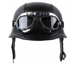 MAYITR Zwarte Motorfiets DOT Duitse Stijl Half Helm + Bril voor Harley Biker Pilot Unisex Motorhelmen M/L/Xl