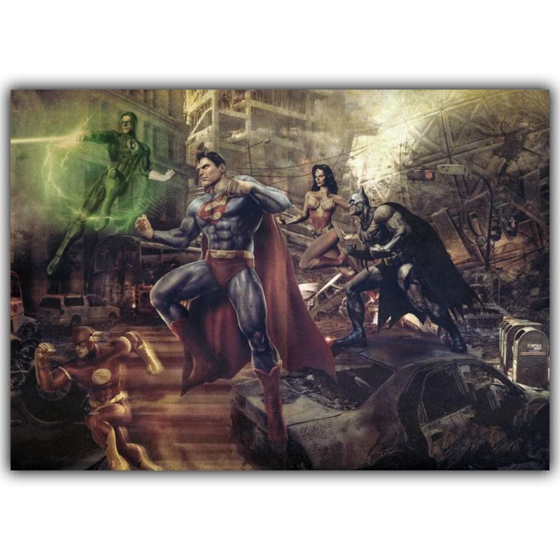 Comics Justice League Poster Retro Classic Hoogwaardige Zijden Doek Art Woonkamer WanddecoratiePoster 3 Size DM082