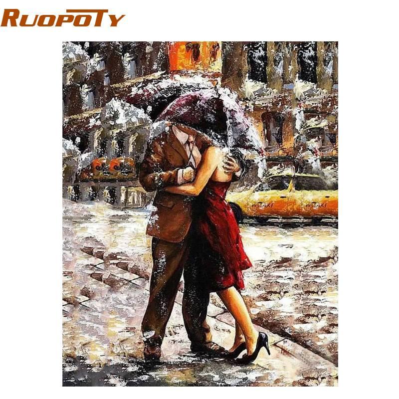 RUOPOTY Romantische Minnaar Figuur Schilderen DIY Schilderij Nummers Kits Coloring Handgeschilderde Olieverf Voor Bruiloft Decoratie