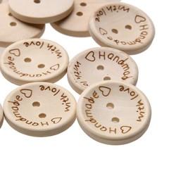 MyXL 100 Stks/zak 15mm/20mm/25mm 2 Gaten Houten Knoppen Handgemaakte Brief Liefde Scrapbooking Voor Bruiloft decoratie