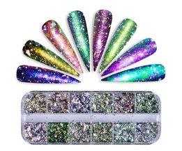 1 Set 12 Grid Chameleon Nail Pailletten Onregelmatige Nail Glitter Pailetten Nail Vlokken Glitter Poeder voor UV Gel Polish SABSZ