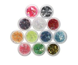 12 Kleuren Vlokken Nail Glitter Poeder Bling Nail Poeder Shimmer Nail Art Glitter Stof Shell Poeder