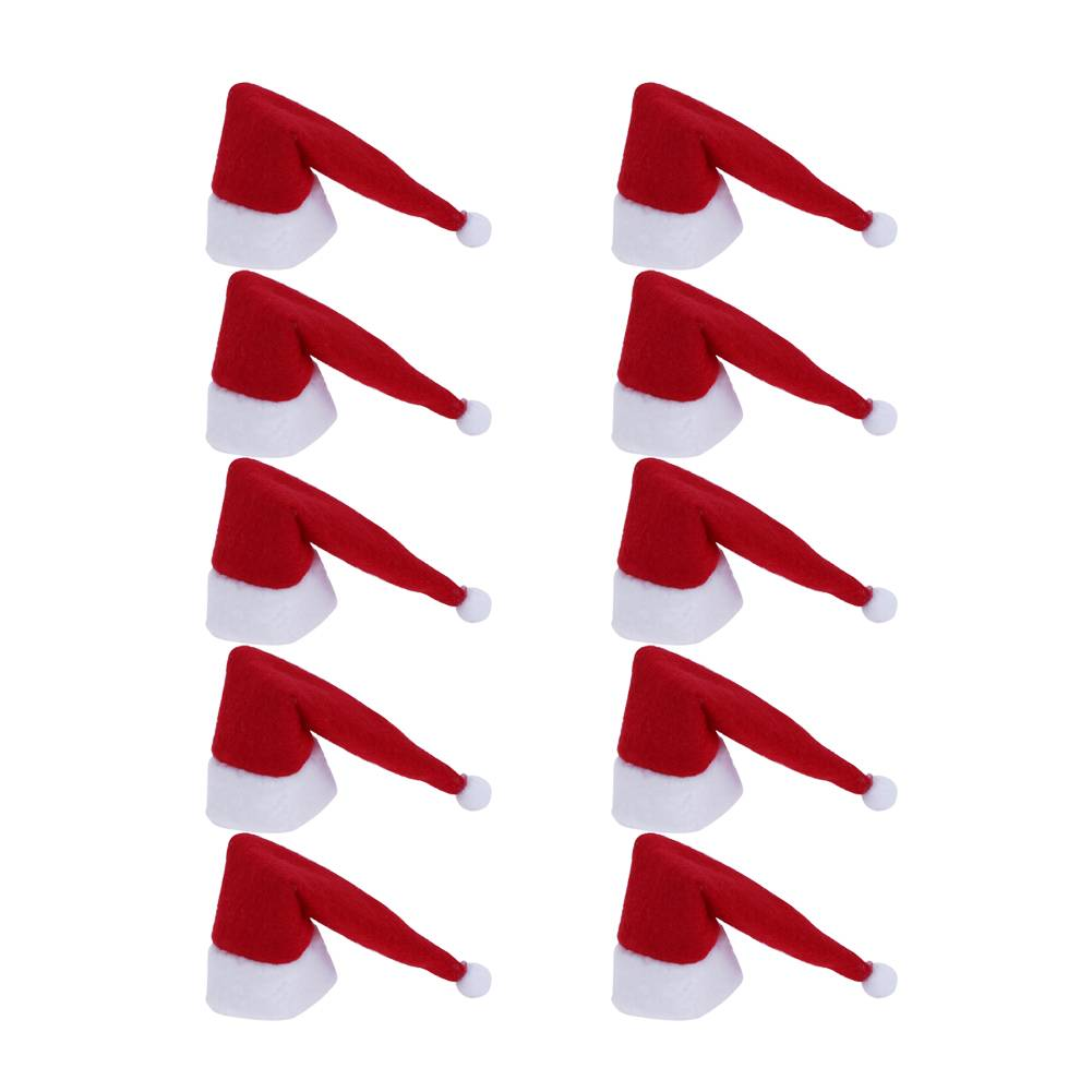 10 stks Kerst Kerstman Hoed Rode Wijnfles Cover Xmas Tafel Fles Heel Decoratie Thuis Ornament Kerst