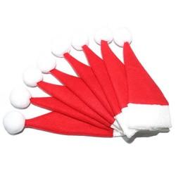MyXL 8 stks/pak Rode Kerstmuts Cap Servies Covers Vork Lepel Pocket Bag XMAS Holiday Party Decor Kerst Accessoires IC876837