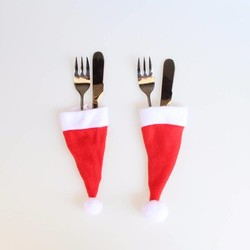 MyXL Mode 10/PC Kerst Caps Bestek Houder Vork Lepel Pocket Kerst Decor Tas Tablewear Set Covers Kerst Benodigdheden