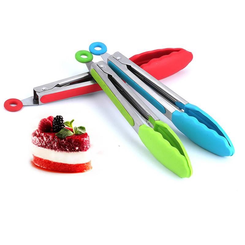 8 inch Food Siliconen voedsel tong Keuken Tang Koken Tang accessoires Salade Serveren BBQ toots Rvs