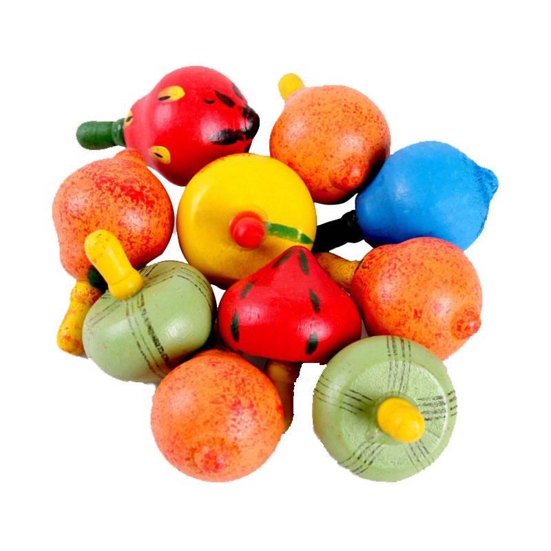 BOHS Classic Houten Spinner Roterende Multicolour Vruchten Tol Baby Kinderen Speelgoed