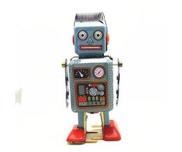 Vintage Mechanische Clockwork Wind Up Metal Walking Robot Tin Toy KidsWereldwijd