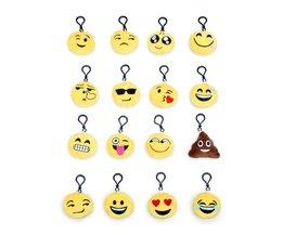 1 Set = 16 Stks Mini leuke Emoji Nieuwigheid Sleutelhangers Knuffel Voor Mobiele Telefoon Bag Hanger Party Decoraties