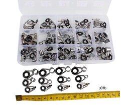 Sougayilang 75 Stks/doos Telescopische Hengel Gids Tip Repair Kit Staaf DIY Eye Ringen Hengel Gids Visgerei
