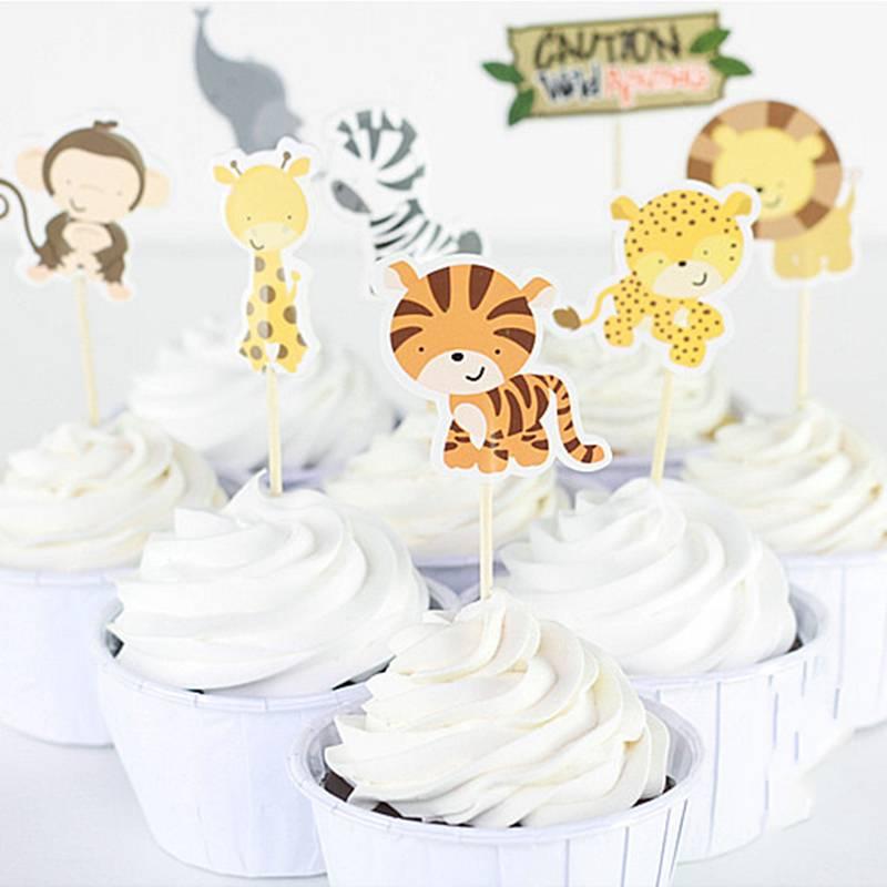 24 stks-pak Safari Wildlife Animal Party Cupcake Topper Picks Cake Decoratie voor Kinderen Verjaarda
