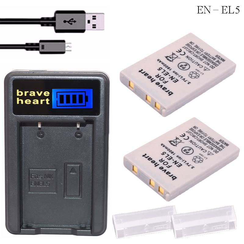 2 x oplaadbare ENEL5 camera batterijen + oplader EN-EL5 EN EL5 bateria voor nikon coolpix p5000 p500