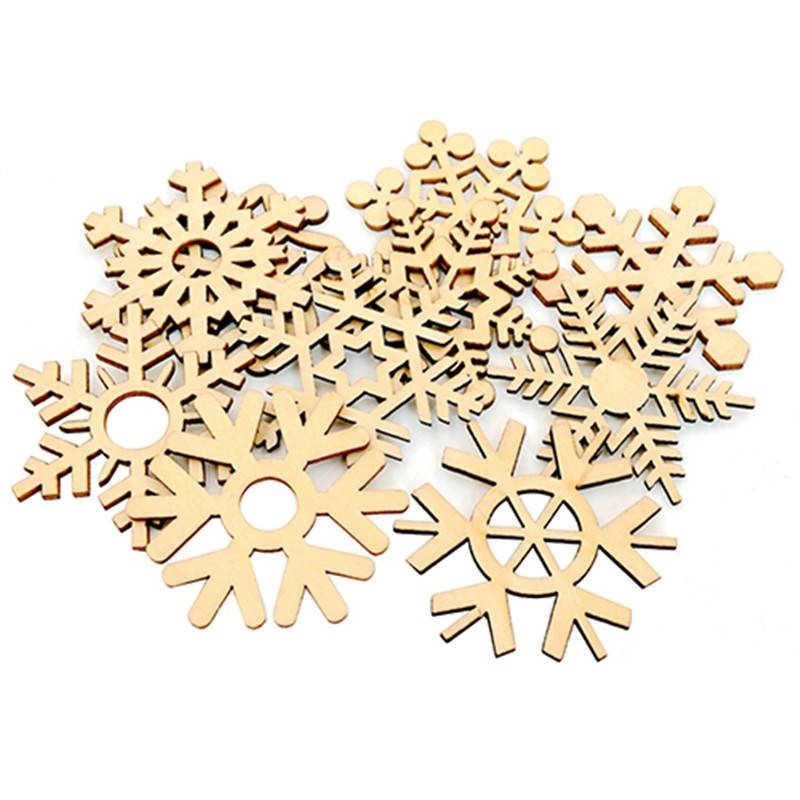10 Stks Diverse Houten Sneeuwvlok Xmas Bruiloft Boom Opknoping Ornament Decoratie