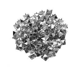 100 Stks 10mm Leathercraft DIY Metal Punk Spikes Spots Piramide Studs Goth-Zilver