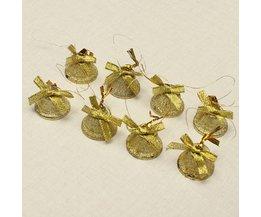 Kerstboom Kerstbelletjes Goud met Strik 8Stuks