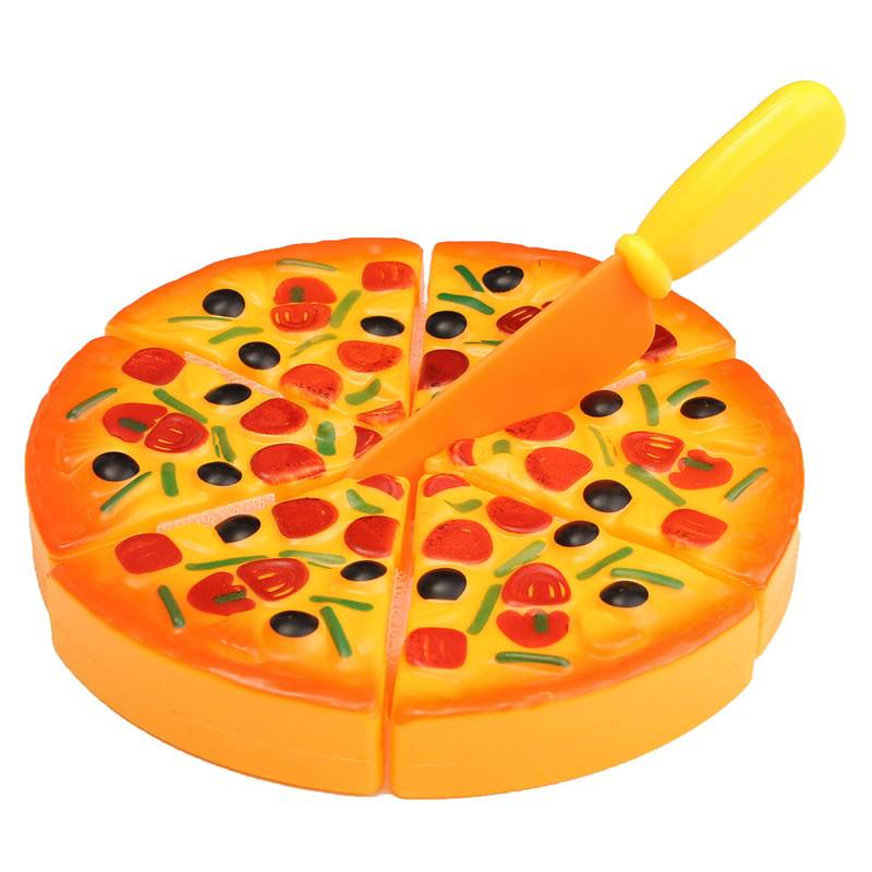 Speelgoed Pizza van ABS Plastic 6 Delen met Plastic Mes