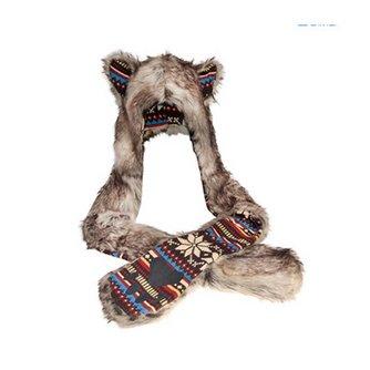 Warm Winter Tie dye Mannen Hat En Sjaal Faux Dier Bont hoed Man Fluffy Pluche Cap Dint Hood Sjaal Met Handschoenen Set