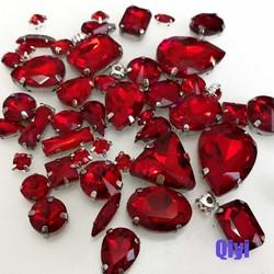 MyXL verlies50 stks/zakgemengde vorm rood glas faltback naaien klauw steentjes, diy kleding accessoires SWM04