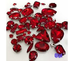 verlies50 stks/zakgemengde vorm rood glas faltback naaien klauw steentjes, diy kleding accessoires SWM04