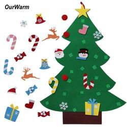 MyXL Ourwarm Kids DIY Vilt Kerstboom met Ornamenten Kinderen Kerstcadeaus voor 2018 Nieuwjaar Deur Muur Opknoping Xmas Decoratie
