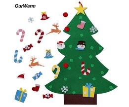 Ourwarm Kids DIY Vilt Kerstboom met Ornamenten Kinderen Kerstcadeaus voor 2018 Nieuwjaar Deur Muur Opknoping Xmas Decoratie