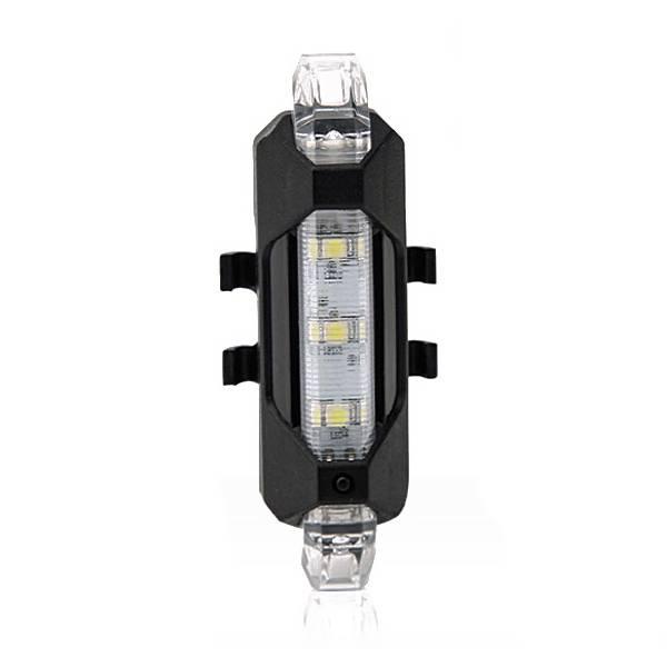 5LED Fiets Achterlichten Flash USB Oplaadbare Bike Veiligheid Lamp Waterdicht, zwart + Wit