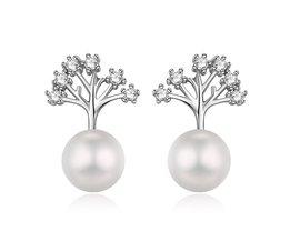 Hongye Klassieke 925 Sterling Zilver Levensboom Natuurlijke Parel Bridal Stud Oorbellen Voor Wedding Vrouwen Accessoire Party Sieraden