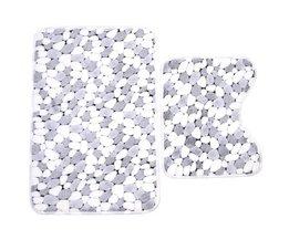 2 stks Katoen Pebble shape Absorberende Zachte Bad Voetstuk Mat Wc Antislip Vloer Tapijten Sets Wasbare Sanitair Suite