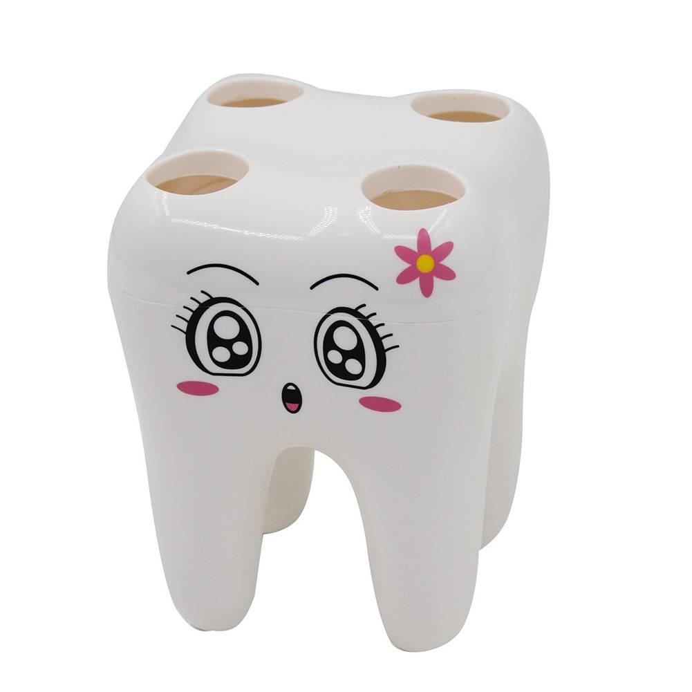Tanden Stijl Tandenborstelhouder 4 Gat Cartoon Houder voor tandenborstels Bracket Container Badkamer Accessoires Set