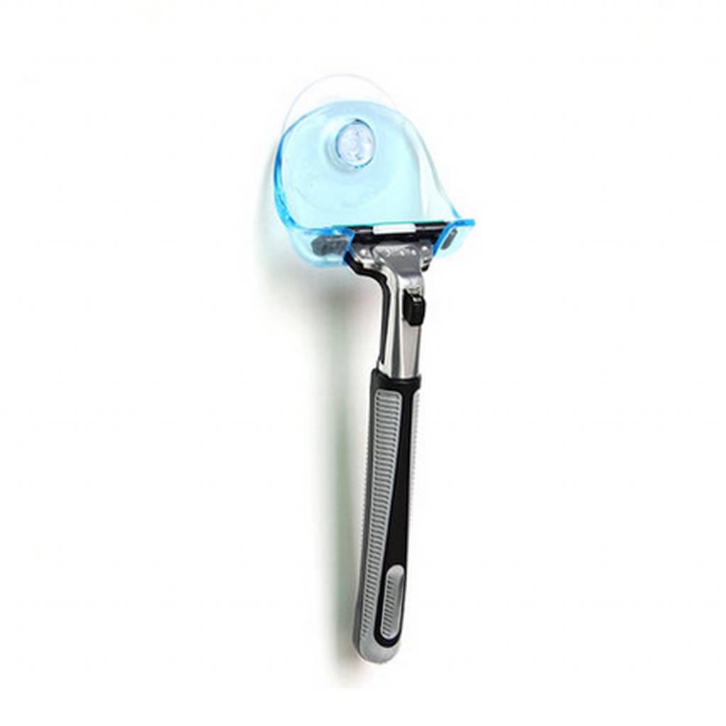 1 Stks Clear Blue Plastic Super Zuignap Scheermes Rack Badkamer Scheermes Houder Zuignap Scheerapparaat
