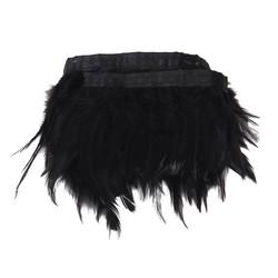 MyXL DIY Decoratieve Handgemaakte Zwarte Haan Veer Fringe Trim 33 Inch voor Naaien Ambachten Decoratie Gordijnen Tafelkleden Kleding