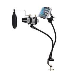 MyXL 2 in 1 Microfoon & Telefoon Standhouder Mount Set ondersteuning 360 Graden Opname de MV voor 3.5-6 inch Cellphone Microfoon Clip