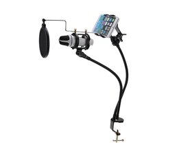 2 in 1 Microfoon & Telefoon Standhouder Mount Set ondersteuning 360 Graden Opname de MV voor 3.5-6 inch Cellphone Microfoon Clip