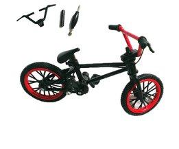 1 Set Zwart & Rood Mini Vinger BMX Fiets Tech Vinger Bikes Speelgoed BMX Fiets Model Fiets Gadgets Novelty Gag Speelgoed Voor Kids Geschenken
