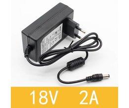 1 STKS 18 V 2A AC 100 V-240 V Converter Adapter DC 18 V 2A 2000mA Voeding EU Plug 5.5mm x 2.1-2.5mm