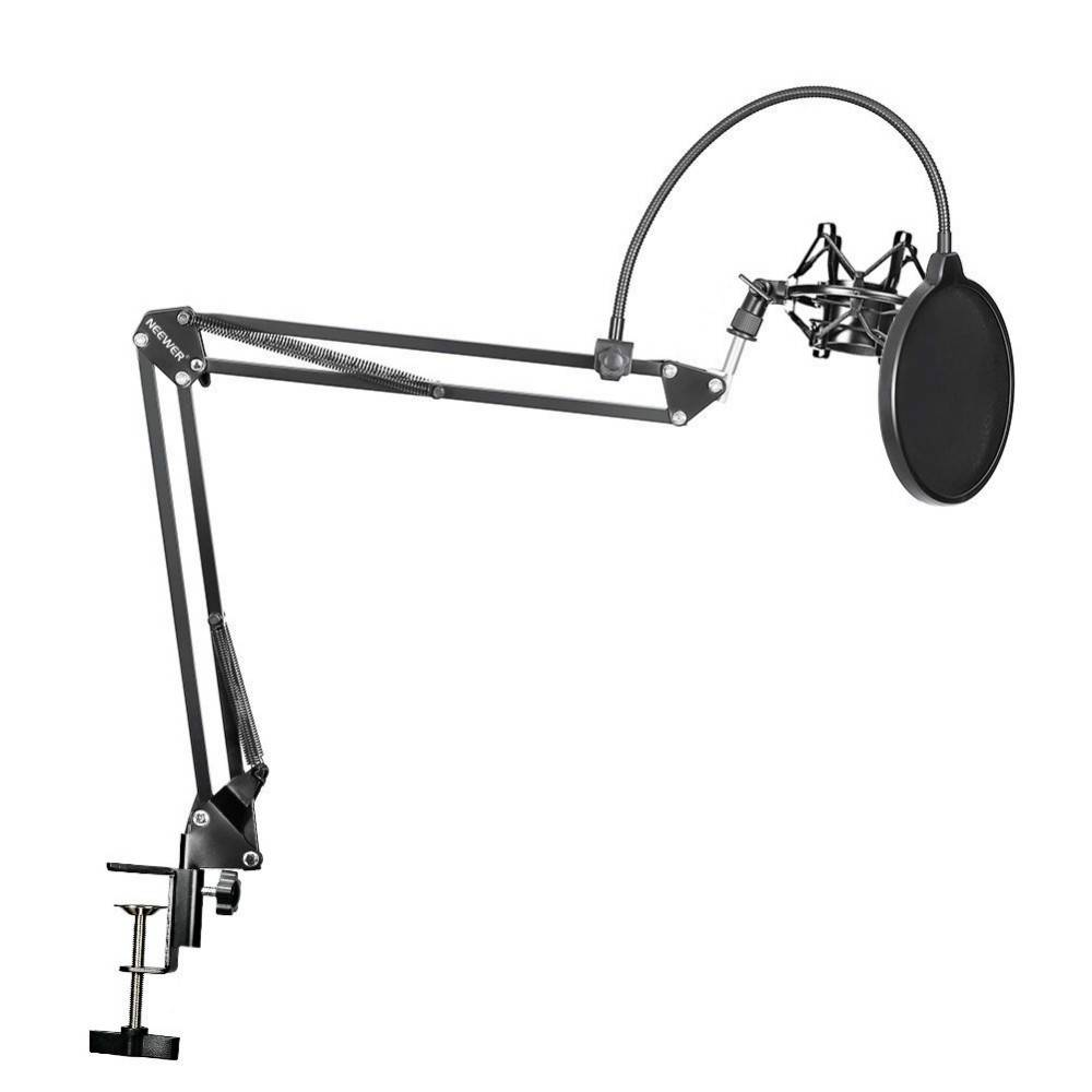 Neewer NB-35 Microfoon Scissor Arm Stand Mic Clip Holder en Tafel Montage Klem & NW Filter Voorruit