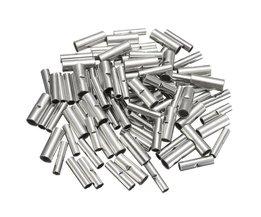 100 Stks/partij Butt Splice Connectors 10mm Koperen 22-10AWG Vertind Splice Crimp Terminal Mouwen Kabel Krimpkous Sleeving Kits