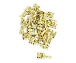 CNIMMessing 6.3mm Connectors Vrouwelijke Spade Kabel Terminals, 20 Stuk