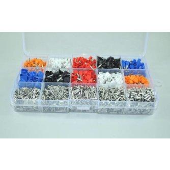 2340 stks/partij gemengde 15 modellen Dual Adereindhulzen Kit Elektrische Crimp Crimper draad koord einde terminal blok