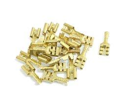 WSFSKoop Messing 6.3mm Connectors Vrouwelijke Spade Kabel Terminals, 20 Stuk