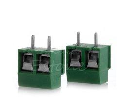 2 stks 300 V 10A 2 P Mannelijke PCB Schroef Blokaansluiting 3.5mm Pitch Groen # L057 #