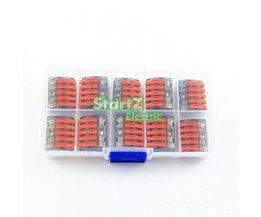 10X Wago type draad connector 5 Pole Terminal Blok KOOI KLEM 222-415 DOOS