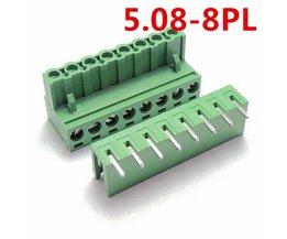 10 sets 8 Pin Haakse pin PCB Elektrische 5.08mm Pitch 300 V 10A Type connector schroefklemmenblok Pin header en socket